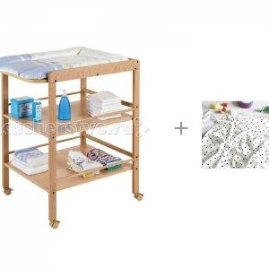 Пеленальный столик  Clarissa и пеленки Mjolk Горошки/Hello Mommy 80х80 см Geuther