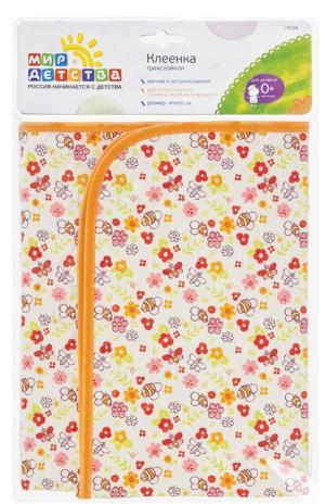 Клеенка  трехслойная, 1 шт, цвет: оранжевый Мир Детства
