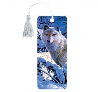 Закладка для книг пластик  3D Белый волк Brauberg