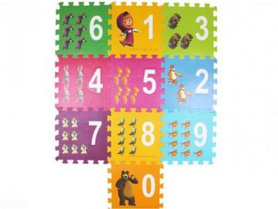 Игровой коврик  Маша и Медведь с вырезанными цифрами коврик-пазл Играем вместе