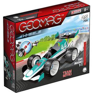 Магнитный конструктор  с зеленой гоночной машиной Geomag. Цвет: красный