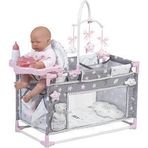 Игровой центр-манеж для кукол  Скай с аксессуарами, 59 см DeCuevas. Цвет: розовый/белый