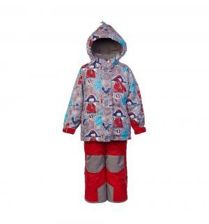 Комплект куртка/полукомбинезон  Нелли, цвет: серый/красный Oldos