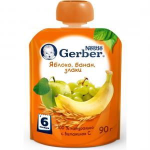 Пюре  яблоко-банан-злаки с 6 месяцев, 90 г Gerber