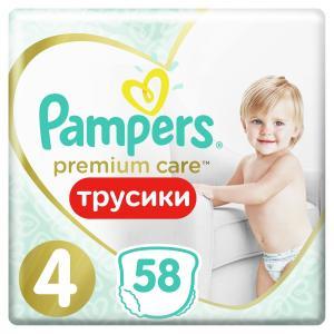 Трусики-подгузники  Premium Care Pants, р. 4, 9-15 кг, 58 шт Pampers