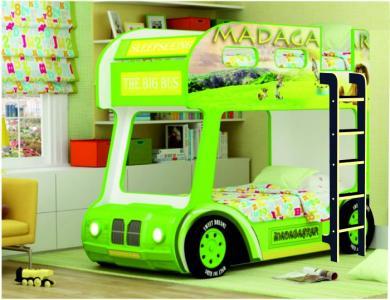 Подростковая кровать  двухъярусная Compact автобус Мадагаскар Red River