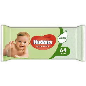 Салфетки  «Ultra Comfort Алоэ» влажные с алоэ, 64 шт Huggies