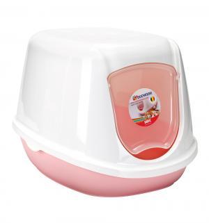 Туалет-домик для котят , цвет: белый/розовый, 44*35*32см Beeztees