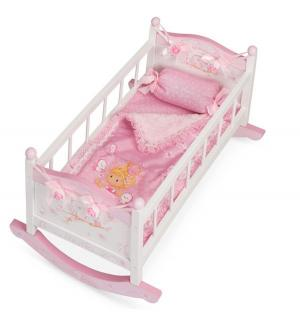 Кроватка-качалка для кукол  Мария розовая 56 см DeCuevas