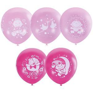 Воздушные шары С Днем Рождения, малыш! 25 шт розовые 12/30 см Latex Occidental