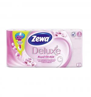 Туалетная бумага 3-х слойная орхидея  Deluxe, 8 шт Zewa