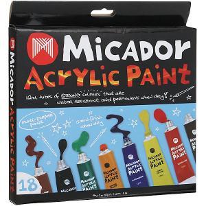 Акриловые краски , 18 цветов по 12 мл Micador. Цвет: разноцветный