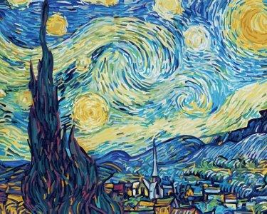 Картина по номерам Звездная ночь Винсент Ван Гог 50х40 см Schipper