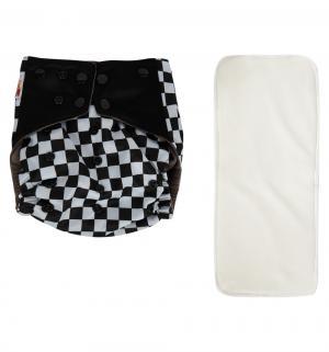Подгузник  многоразовый Premium Fashion + 1 вкладыш Белый/Буквы и клетка (3-16 кг) шт. Bamboola