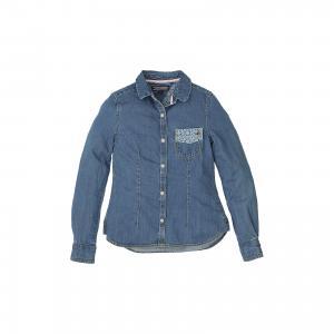 Блузка для девочки Tommy Hilfiger. Цвет: синий