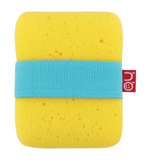 Мочалка  Sponge с фиксатором, цвет: желтый Happy Baby