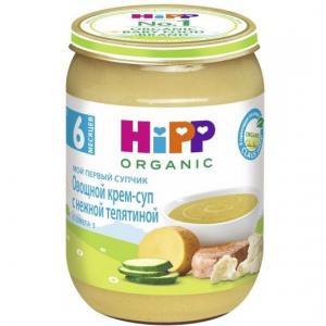 Пюре  Мой первый супчик овощной крем-суп с телятиной 6 месяцев, 190 г Hipp
