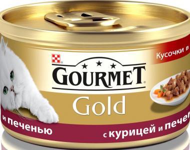 Корм влажный  Gold для взрослых кошек, курица/печень, 85г Gourmet