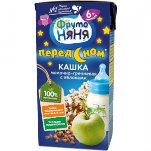Каша  молочная гречневая с яблоком 6 месяцев 200 г ФрутоНяня