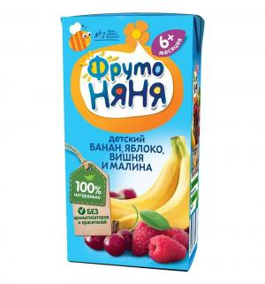 Нектар , яблоко-банан-вишня-малина 200 мл, 1 шт ФрутоНяня