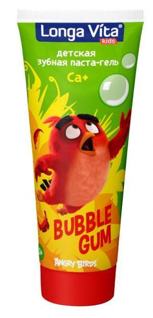 Детская зубная паста-гель  серии Angry Birds Bubble Gum, цвет: зеленый Longa Vita