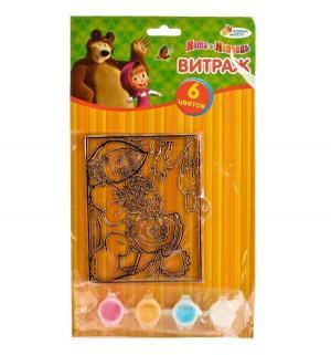 Витраж  Маша и медведь с красками кистью Multiart