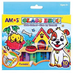 Набор витражных красок , 10 цветов Amos. Цвет: синий