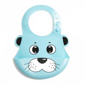 Нагрудник  силиконовый с кармашком Мишка Baby Nice (ОТК)