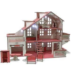 Кукольный домик  Деревянный со светом 85 см Iwoodplay