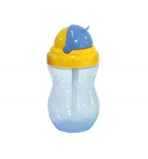 Поильник  с трубочкой, цвет: синий/крышка желтая Nuby