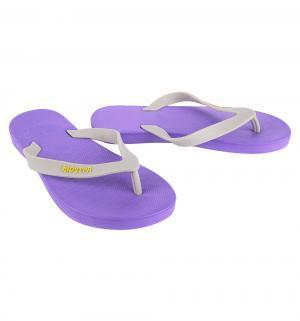 Шлепанцы , цвет: бежевый/фиолетовый Дюна