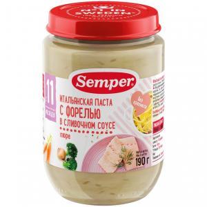 Пюре  Итальянская паста с форелью в сливочном соусе 11 месяцев, 190 г Semper