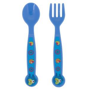 Набор приборов  для кормления ложка+вилка, цвет: синий Ням-Ням