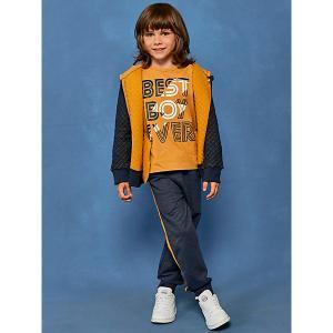Комплект:кардиган,толстовка,брюки Juno. Цвет: желтый