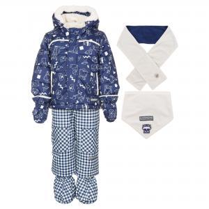 Комплект (куртка, брюки, шарф и манишка) DEUX PAR. Цвет: синий