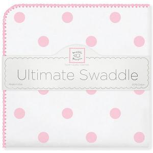 Фланелевая пеленка  Big Dots Pink, 110х110 см SwaddleDesigns. Цвет: розовый/белый