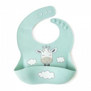 Нагрудник  силиконовый с кармашком Жирафик в облаках Baby Nice (ОТК)