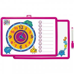 Доска-часы двусторонняя, с маркером (розовая) Kribly Boo