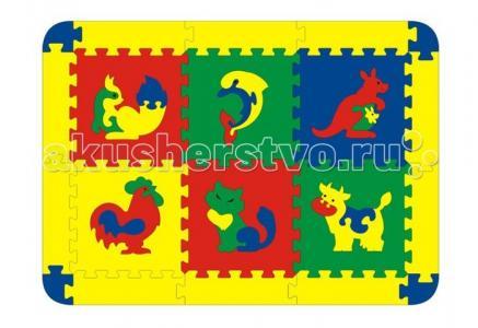 Игровой коврик  с животными 6 деталей Флексика