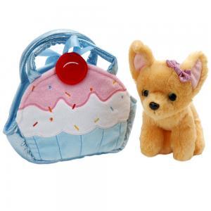 , Игрушка мягкая Собака Чихуахуа, 19см в сумочке виде кекса Играем Вместе