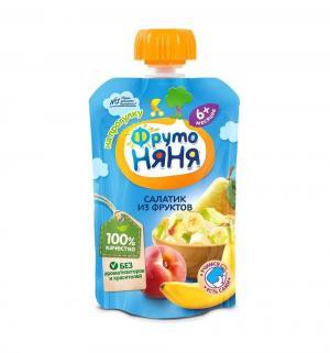 Пюре  Салатик из фруктов яблоко-груша-банан-персик с 6 месяцев, 90 г, 1 шт ФрутоНяня