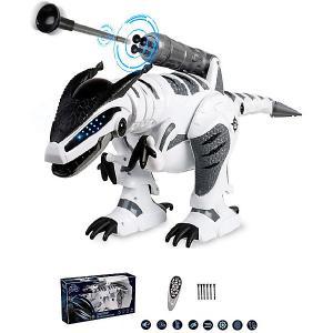 Интерактивный робот-динозавр Пультовод Тирекс на дистанционном управления Zhorya. Цвет: белый