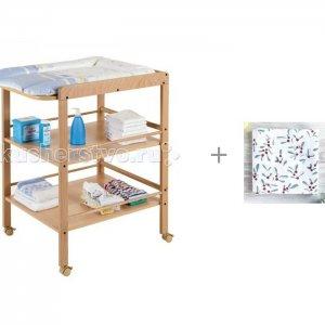 Пеленальный столик  Clarissa и Муслиновая пеленка Mjolk Брусника 80x80 см Geuther