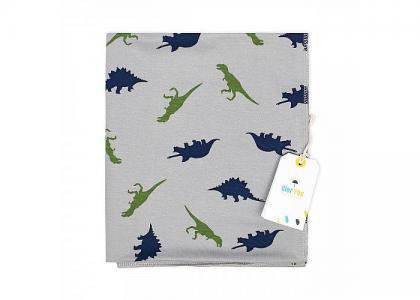 Пеленка  трикотажная Динозаврики 100х95 см GlorYes