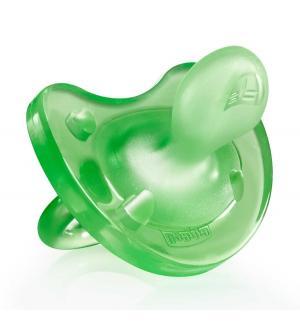 Пустышка  Physio Soft для детей силикон, с 6 мес, цвет: зеленый Chicco