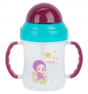 Чашка-непроливайка  с трубочкой, цвет: бирюзовый/ручки фиолетовые Farlin