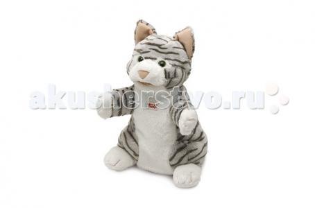 Мягкая игрушка на руку Кошка полосатая 25 см Trudi