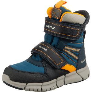 Утепленные сапоги Geox. Цвет: синий/оранжевый