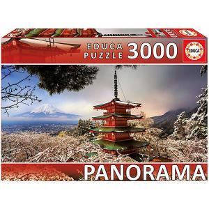 Пазл  панорама Гора Фудзи и пагода Чурейто, 3000 деталей Educa