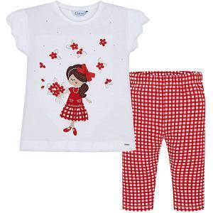 Комплект : футболка и леггинсы Mayoral. Цвет: красный